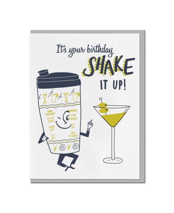 Letterpress Birthday Card Funny Pun Punny Alcohol Cocktail Shaker Retro Drink Navy Cha