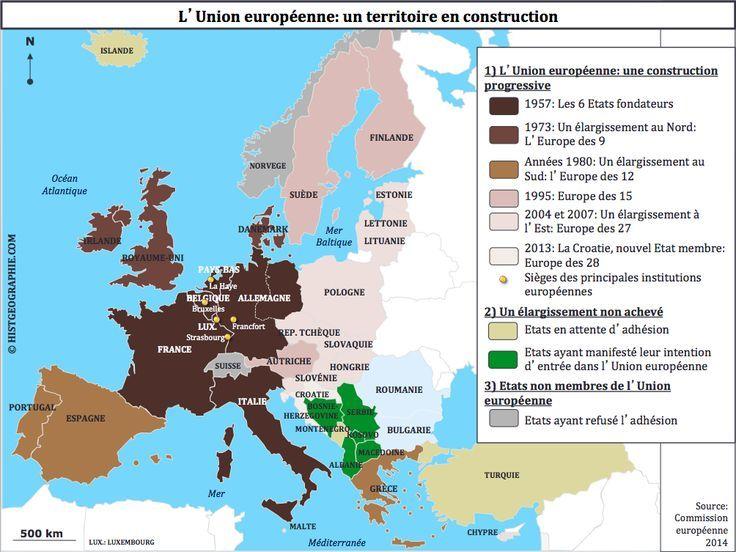 Tbacpro G4 Les Grandes Etapes De La Construction Europeenne De 6 A 28 Pays Membres 1957 2013 Source Histgeographie Com