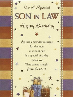 Son In Law Birthday Card Bsl 14 Happy Birthday Son Birthday