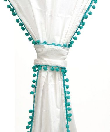 Take A Look At This Turquoise Trim Cotton Voile Pom Pom Curtain By Karma  Living