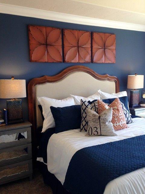 Rust And Navy Bedroom Blue Bedroom Decor Bedroom Orange Navy