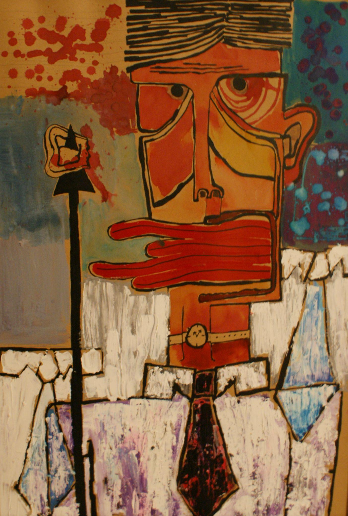 ''Losing minds'' 2009, acrylic & ekoline on canvas / 100 × 70