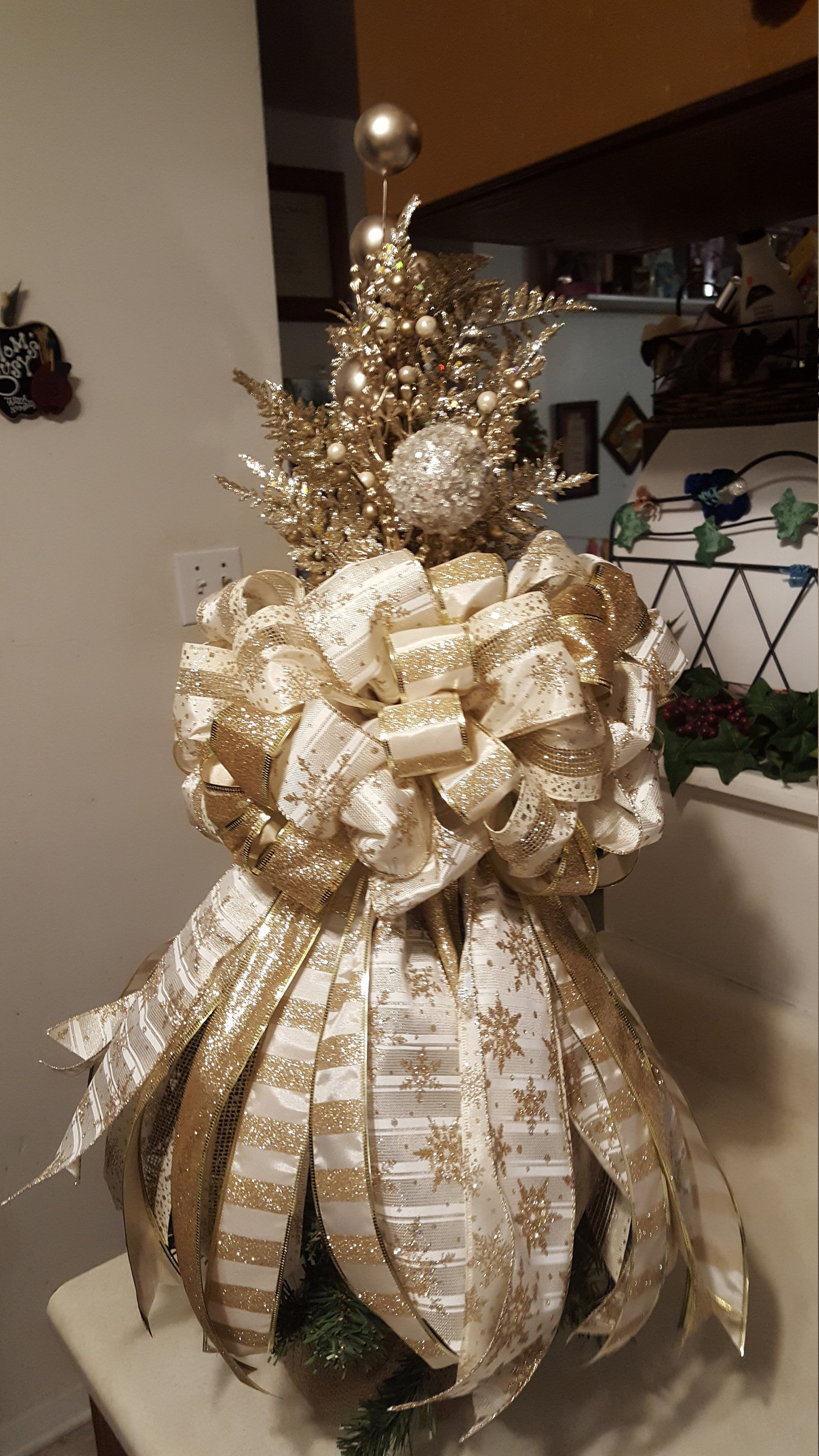 Gold Beige Tree Topper Etsy Christmas Tree Topper Bow Floral Christmas Tree Christmas Tree Bows