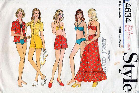 1970s Halter Neck Bikini, Shorts, Shirt & Maxi Skirt Pattern Style ...