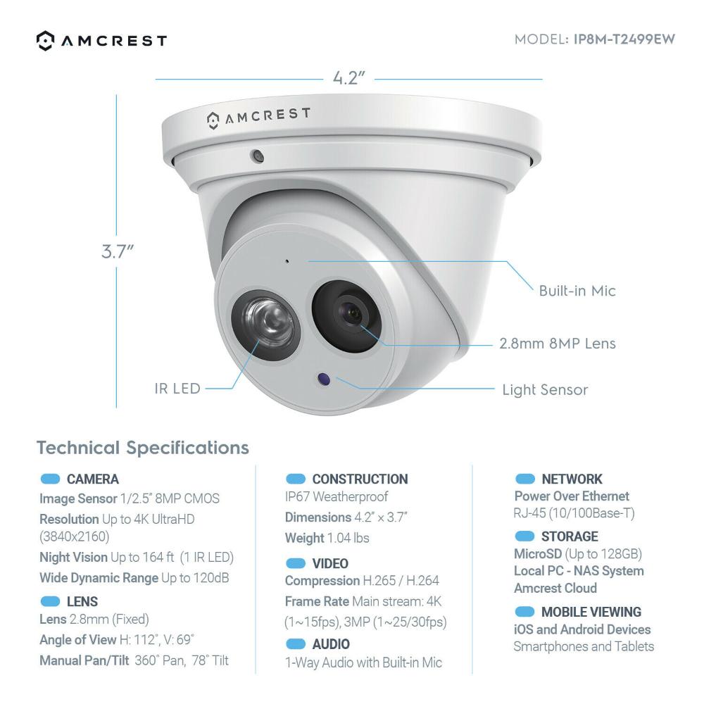 Amcrest Ultrahd 8m 4k Turret Poe Dome Outdoor Security Ip Camera Ip8m T2499ew Ebay Wireless Surveillance Camera Security Cameras For Home Ip Camera System