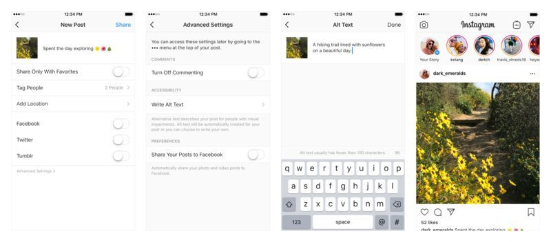 Accessible Image App Features Instagram Settings Instagram