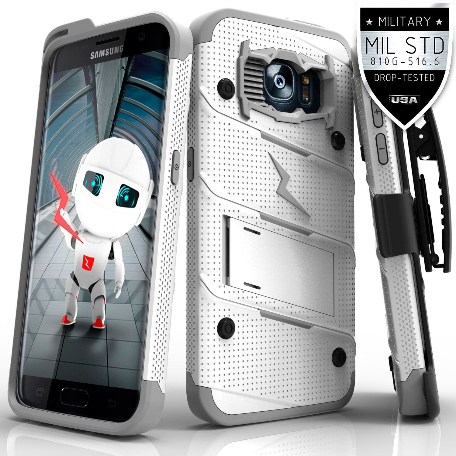 new product 8c3d7 18b17 Zizo BOLT Samsung Galaxy S7 Edge Case - White/Grey | Products ...