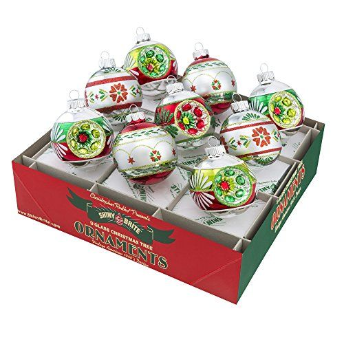 Shiny Brite Holiday Splendor Decorated Rounds with Reflectors - Ornament Set - Shiny Brite Holiday Splendor Decorated Rounds With Reflectors €� Set