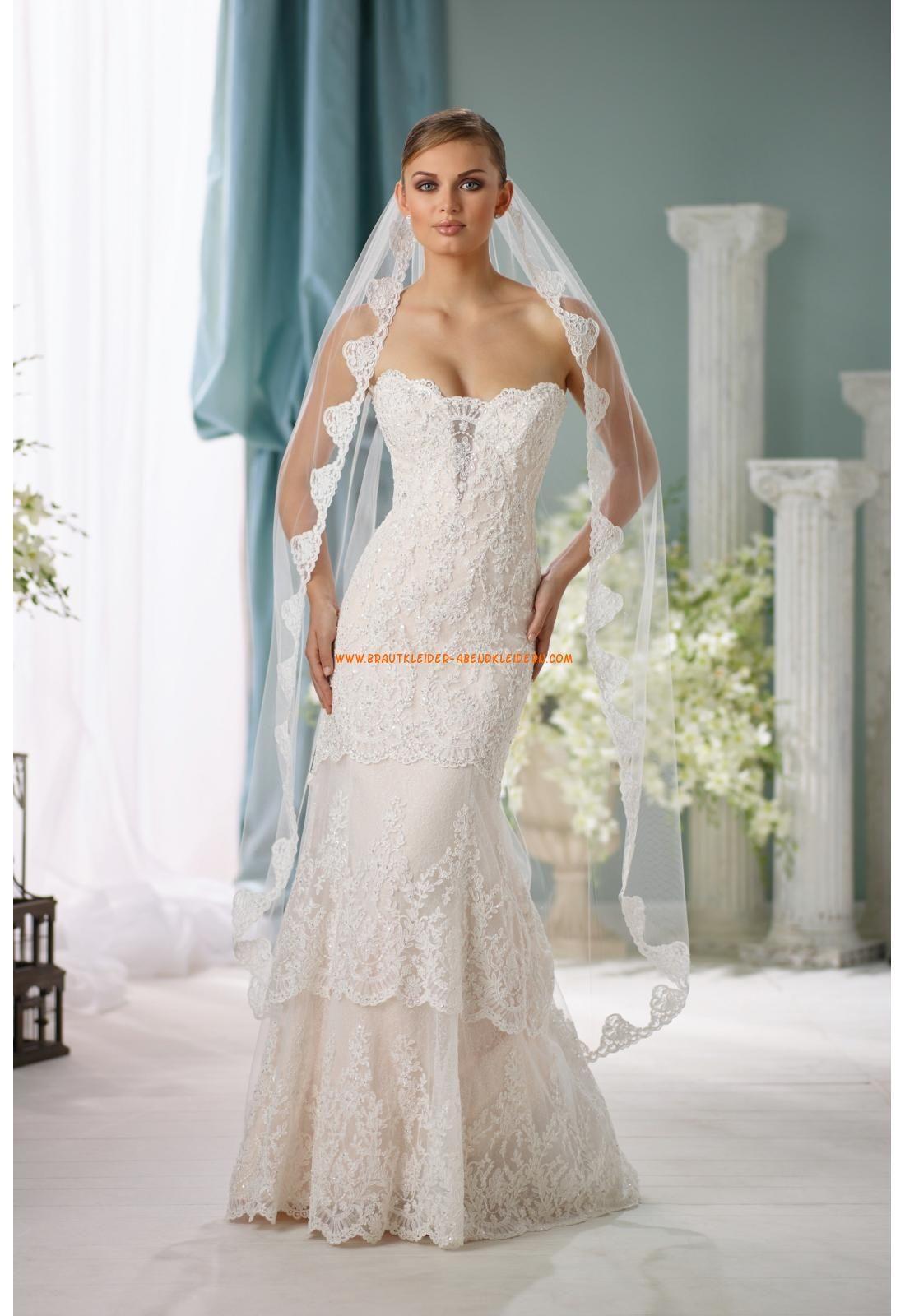 Meerjungfrau Schöne Trägerlose Brautkleider aus Spitze mit Schleppe