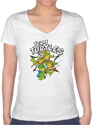 Ninja Turtles Kendin Tasarla - Bayan V Yaka Tişört