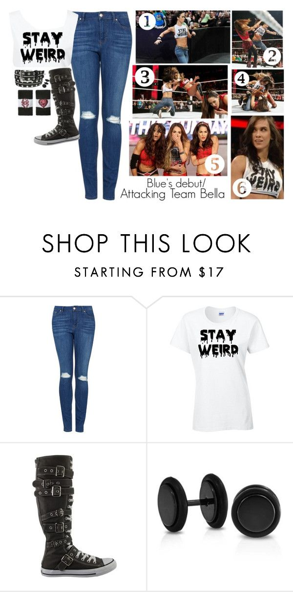 """""""Blue's WWE debut"""" by jet-black-fart ❤ liked on Polyvore featuring Monday, Topshop, CO, Converse and Bling Jewelry"""