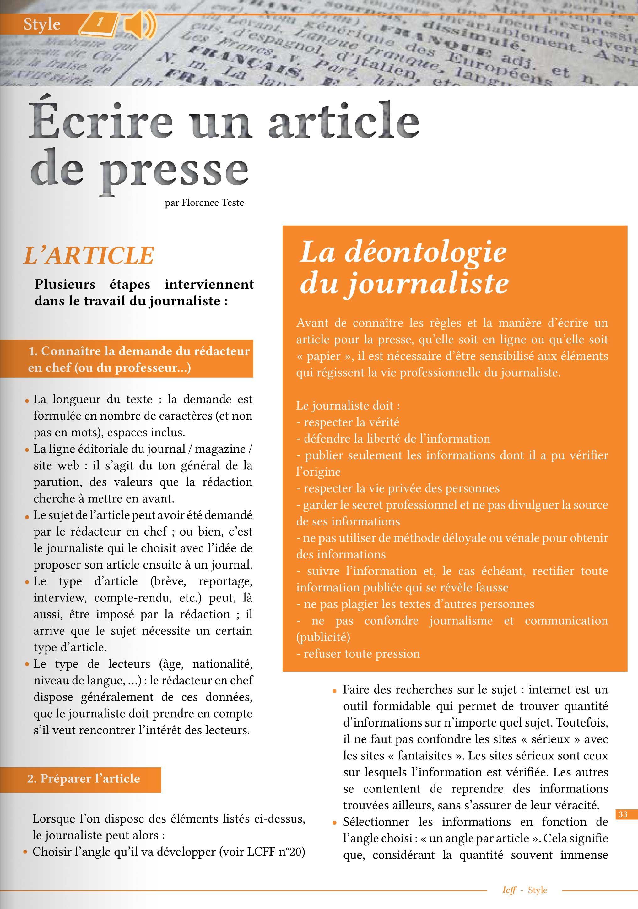 Article LCFF ] Comment écrire un article de presse ? http://www.lcf ...