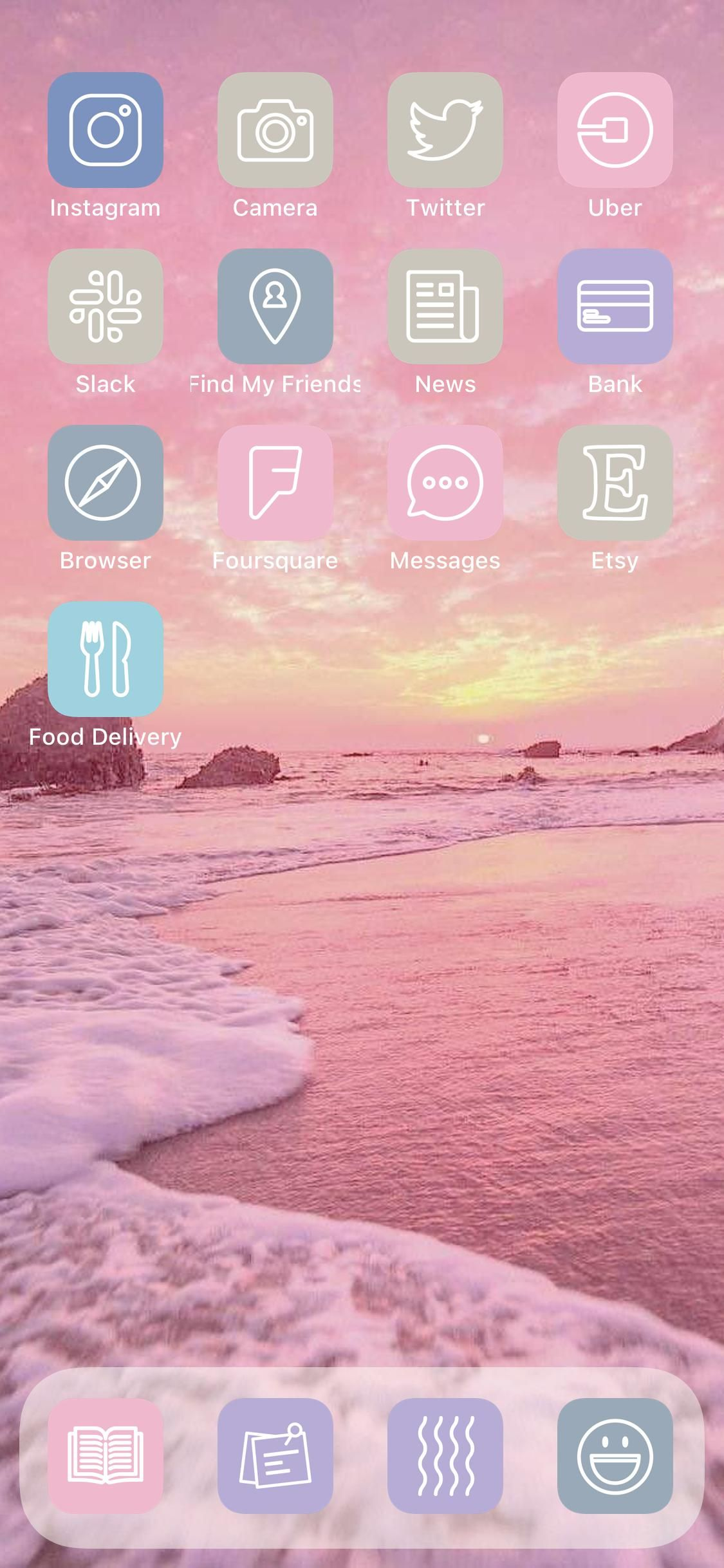 Megapack With 4 000 Unique Pastel Beach Ios 14 App Icons For Your Iphone Or Ipad Home Screen Aesthetic Bundle For Shortcuts Customization App Icon Homescreen Find My Friends