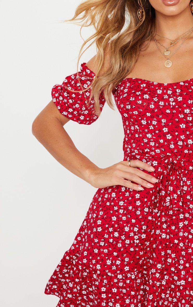 0674285d6 Red Ditsy Print Bardot Frill Hem Skater Dress in 2019 | dress | Cute ...
