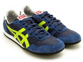 ASICS ONITSUKA TIGER Mens SERRANO D109L-5084 Athletic Shoes [Navy / Lime]