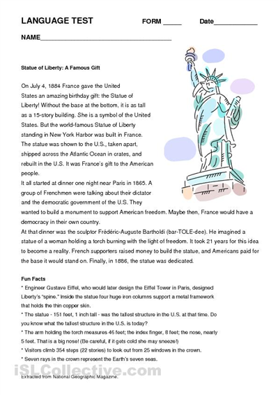 Statue of Liberty Printable Activities | All these worksheets and ...