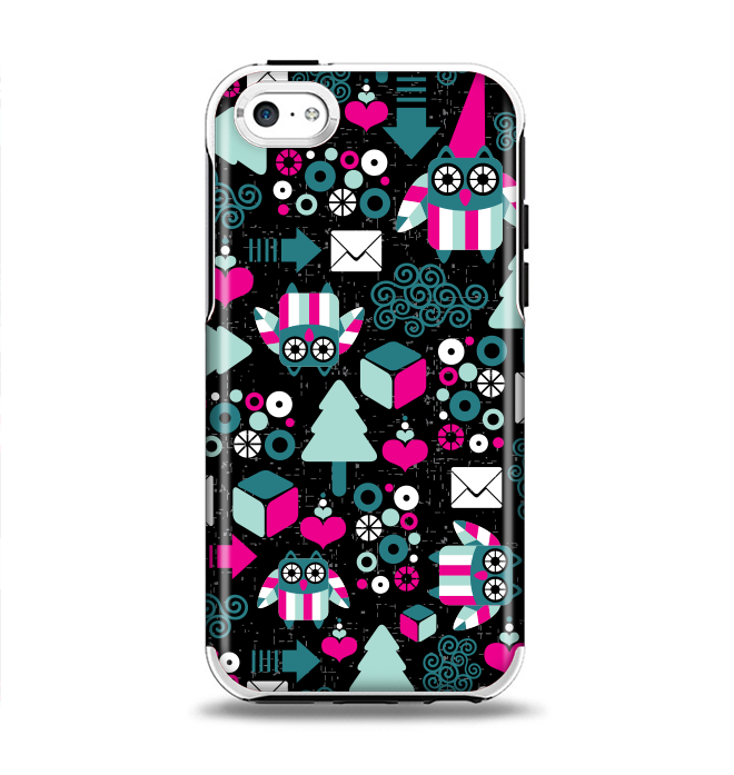The Pink & Teal Owl Collaged Vector Shapes Apple iPhone 5c Otterbox Symmetry Case Skin Set