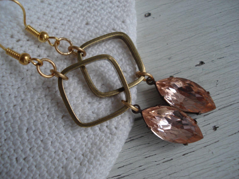 Vintage Rose Rosaline Glass Dangle Earrings Pink Zinfandel Peach Rosato. $25.00, via Etsy.