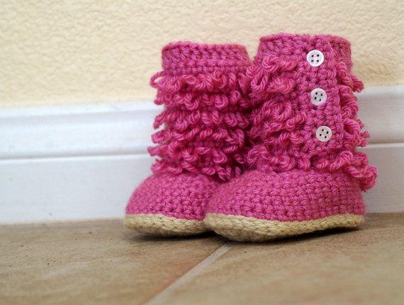 Crochet Furry Boots for Baby Girl, Anti-slip