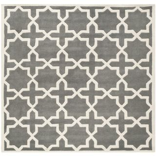 Safavieh Handmade Moroccan Dark Grey Cross Pattern Wool Rug 8 9 Square At Over