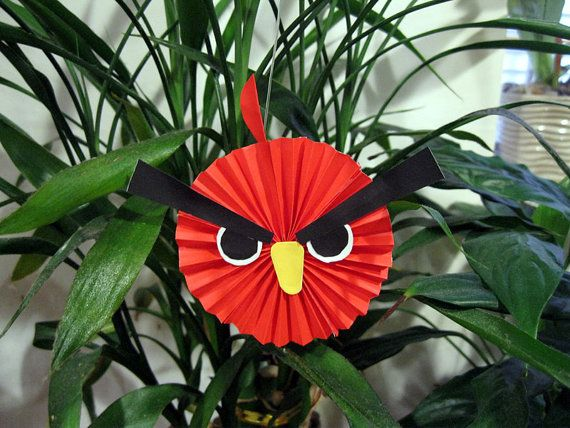 10 Red Paper Angry Birds Hanging Stringing by myorigamiandyours, $12.00