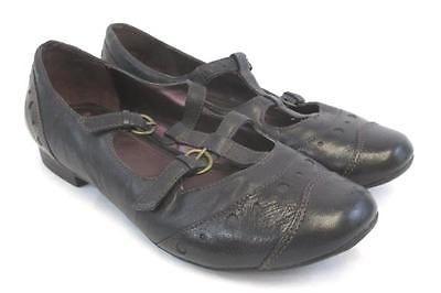 Indigo By CLARKS Black Leather Mary Jane Double T Strap Low Heel Women's 8M
