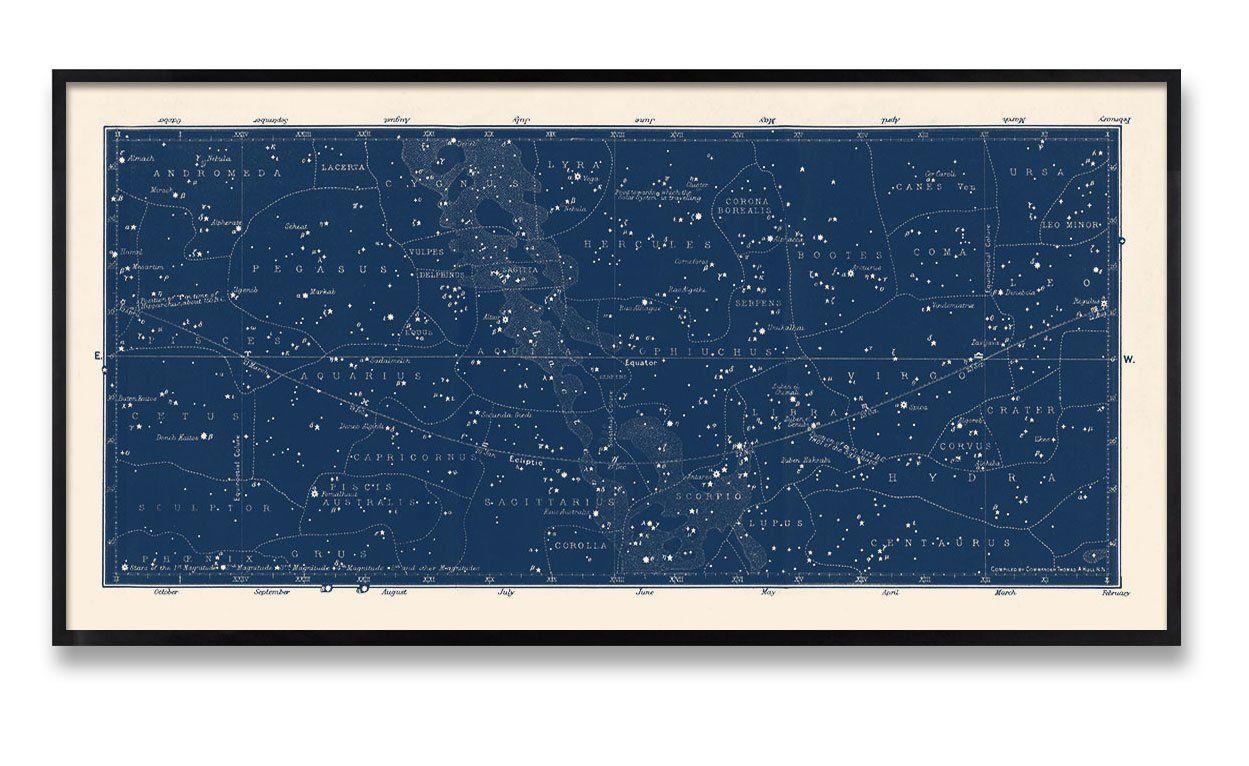 Amazon Com Large Horizontal Blue Constellations Map And Star Chart Handmade Constellation Map Star Map Art Celestial Map