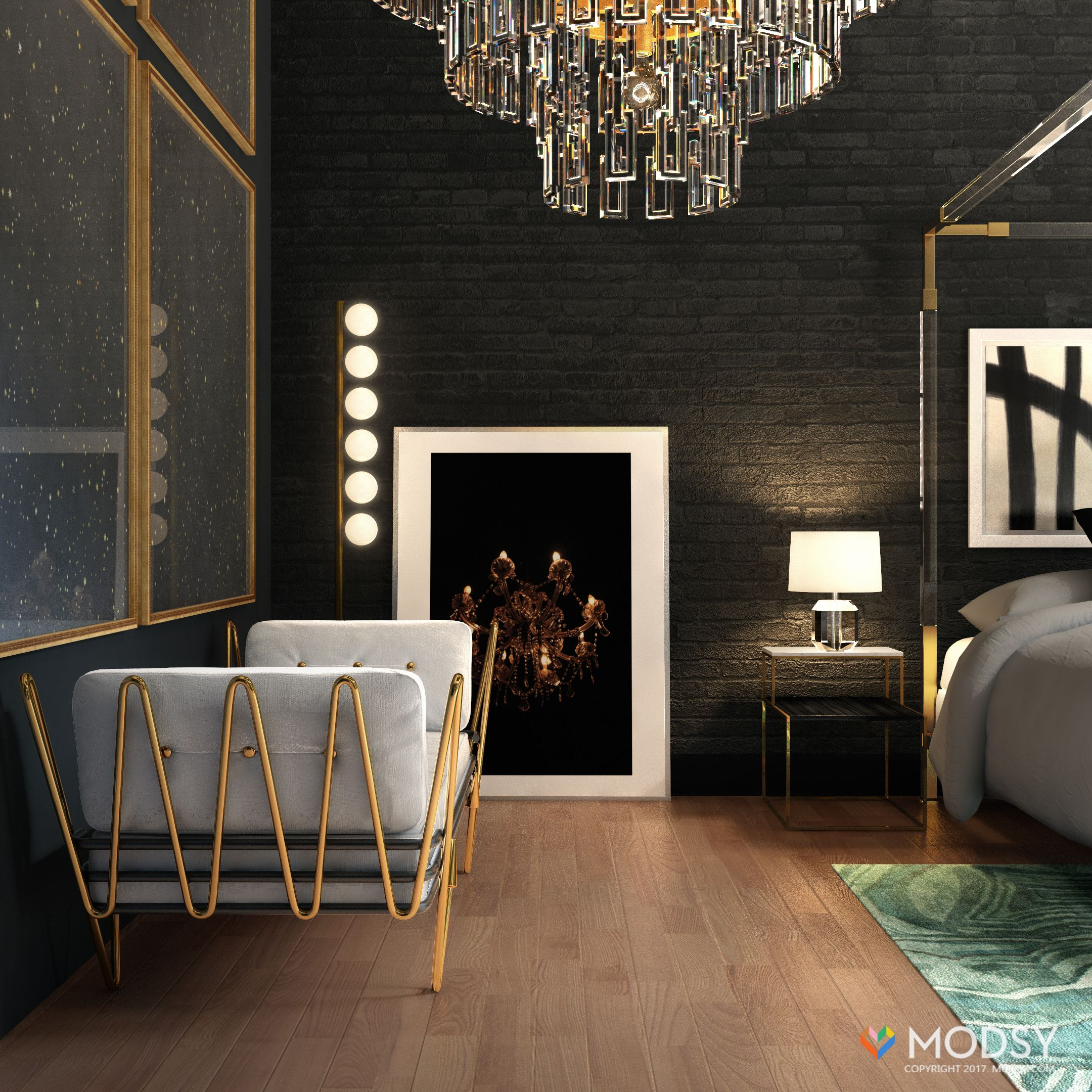 Hollywood Glam Bedroom With An Industrial Twist With Images