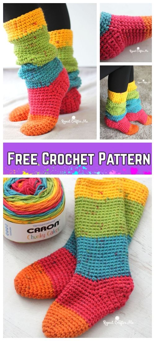 Crochet Women Slouchy Slipper Socks Free Crochet Patterns & Paid in ...