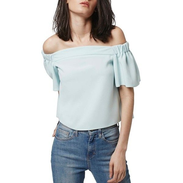 Petite Women's Topshop 'Livi' Off The Shoulder Top ($60) ❤ liked on Polyvore featuring tops, light blue, petite, blue off the shoulder top, flutter sleeve top, topshop, blue off shoulder top and flutter-sleeve top