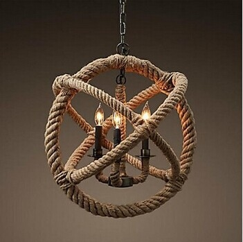 164.99$  Buy now - http://alipls.worldwells.pw/go.php?t=32328253324 - Country Retro Loft Style Vintage Industrial Pendant Light  With 3 Lights Hemp Rope,For Home Living Lights,E27 Bulb Included 164.99$