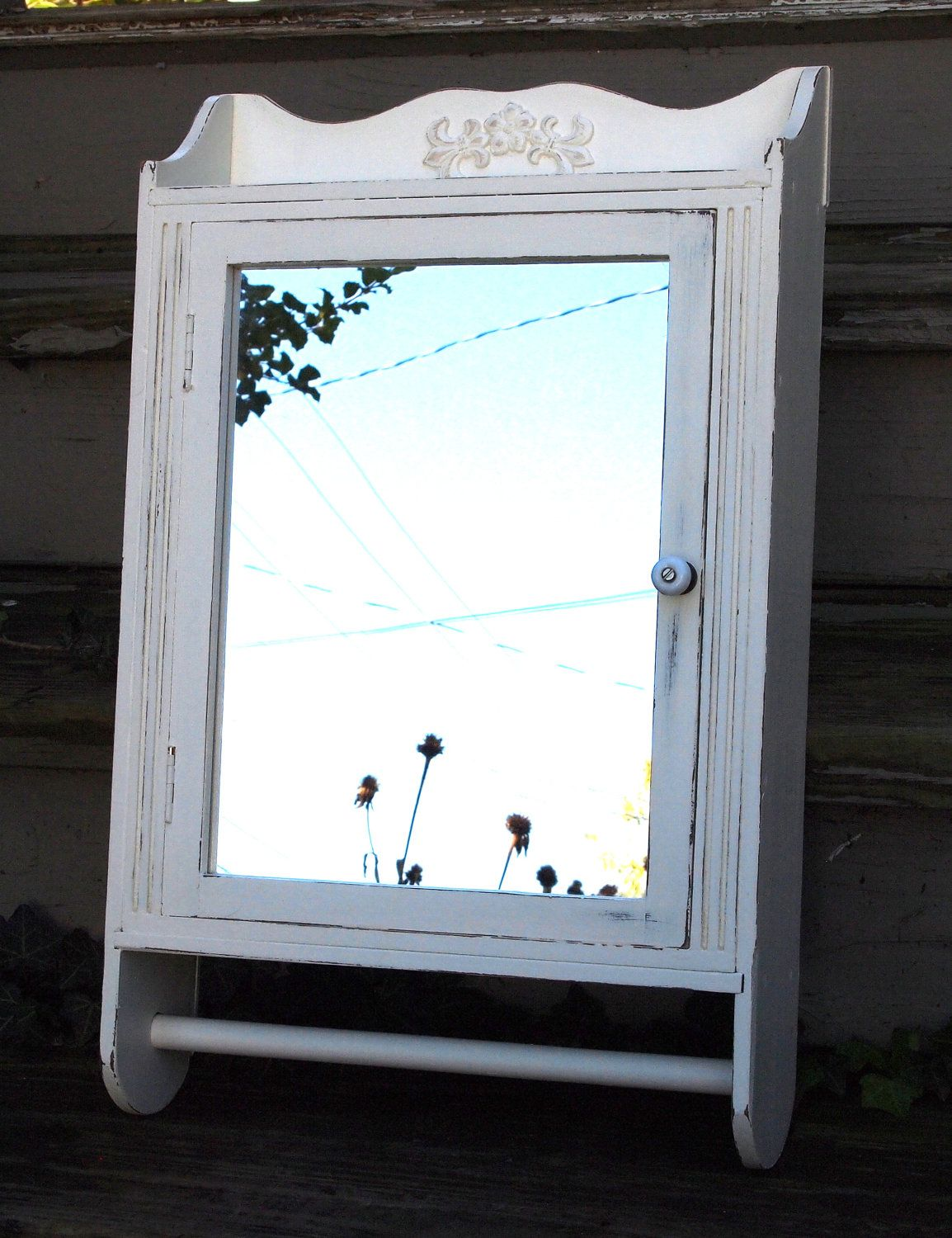 Wall Cabinet Medicine Mirror With Towel Bar Upcycled Painted Wood Cottage White Distressed Shabby Chic French Farmhouse