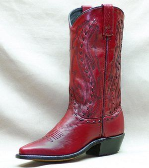 Abilene Women's Pull On Western Boots - Red/Maroon.....Gotta have these rockn boots!