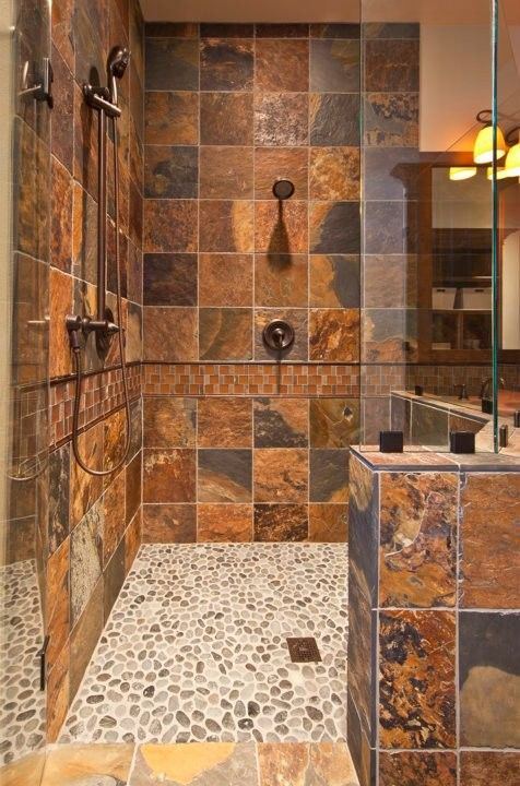 Great color for the shower tiles make for a rustic