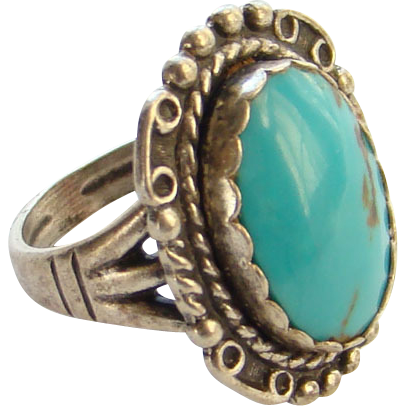 Size US 6.5 Sterling Silver Ring Green Kingman Turquoise Ring