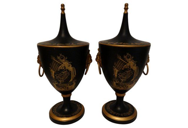Decorative Urns With Lids Italian Tole Urns Pair  Antique Stuff  Pinterest  Urn