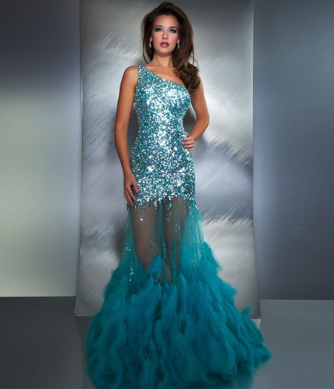 Mac Duggal Prom 2013 - Aqua One Shoulder Sequin Mermaid Prom Dress ...