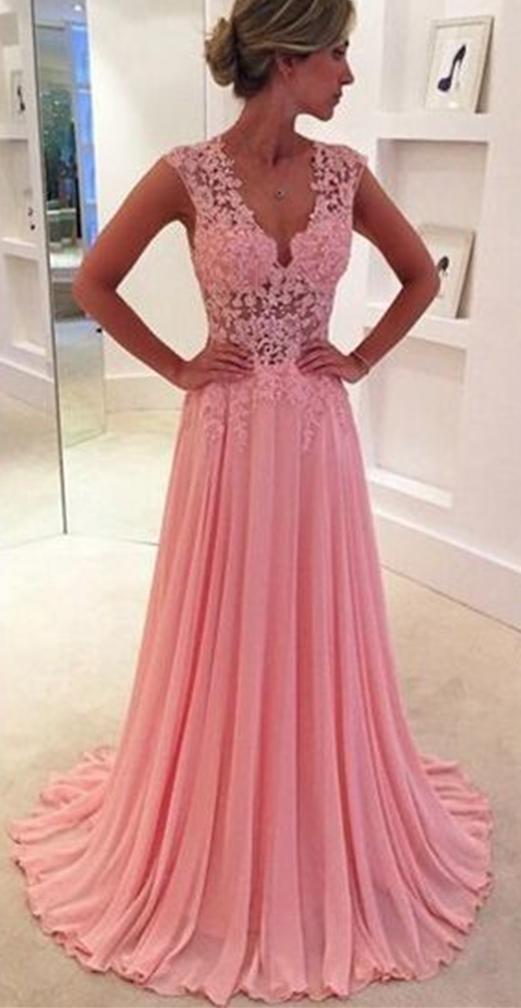 New Arrival Prom Dress,Pink prom dresses,elegant chiffon lace long ...