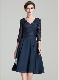 109ea13e791 A-Line Princess V-neck Knee-Length Zipper Up Sleeves 3 4 Sleeves No 2016  Dark Navy Spring Summer Fall General Plus Chiffon Lace Mother of the Bride  Dress