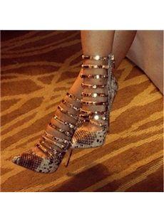 32f2fefb2 Elegant Snake Skin Ankle Strap High Heel Sandals