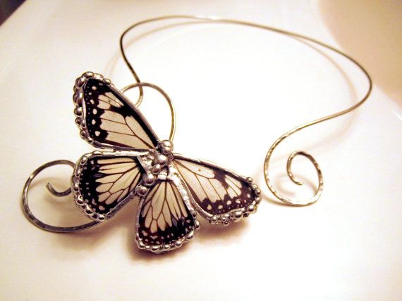 Stainless Steel Torc with Real Butterfly by DebrasDivineDesigns, $147.50