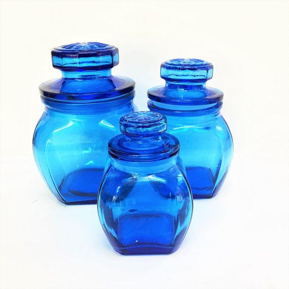 Attirant Vintage Blue Glass Canister Set Of Three Blue Glass Kitchen Canisters,  Storage Jars With Tight Seal Raised Star Lid Angled Corners