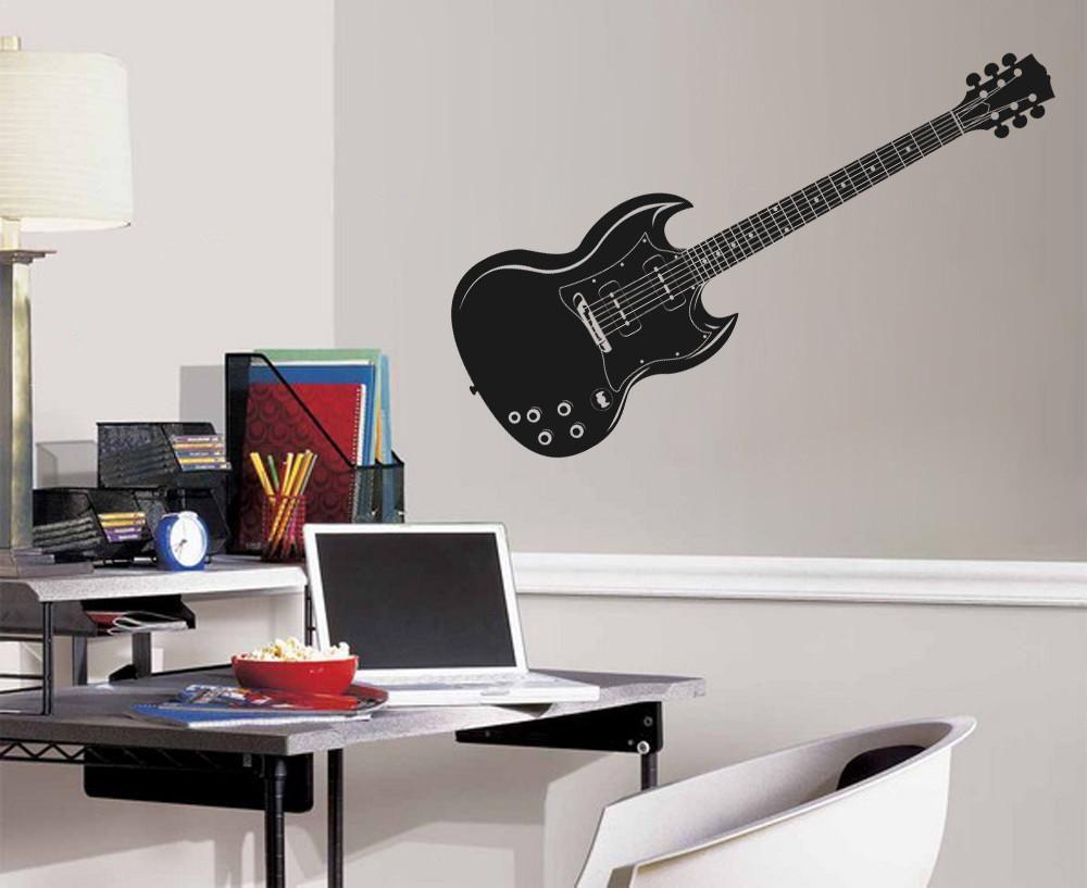 Ik788 Wall Decal Electric Bass Guitar Star Music Song Artist Notes