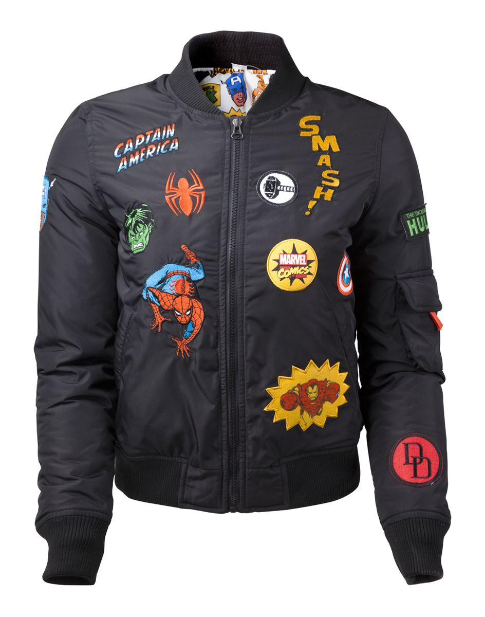 Marvel - Female Black Bomber Jacket with Hero Patches - Marvel - Brands e5b4c61f727