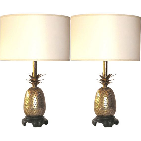Pair Of Vintage Brass Pineapple Lamps Attributed To Maison Charles Paris.