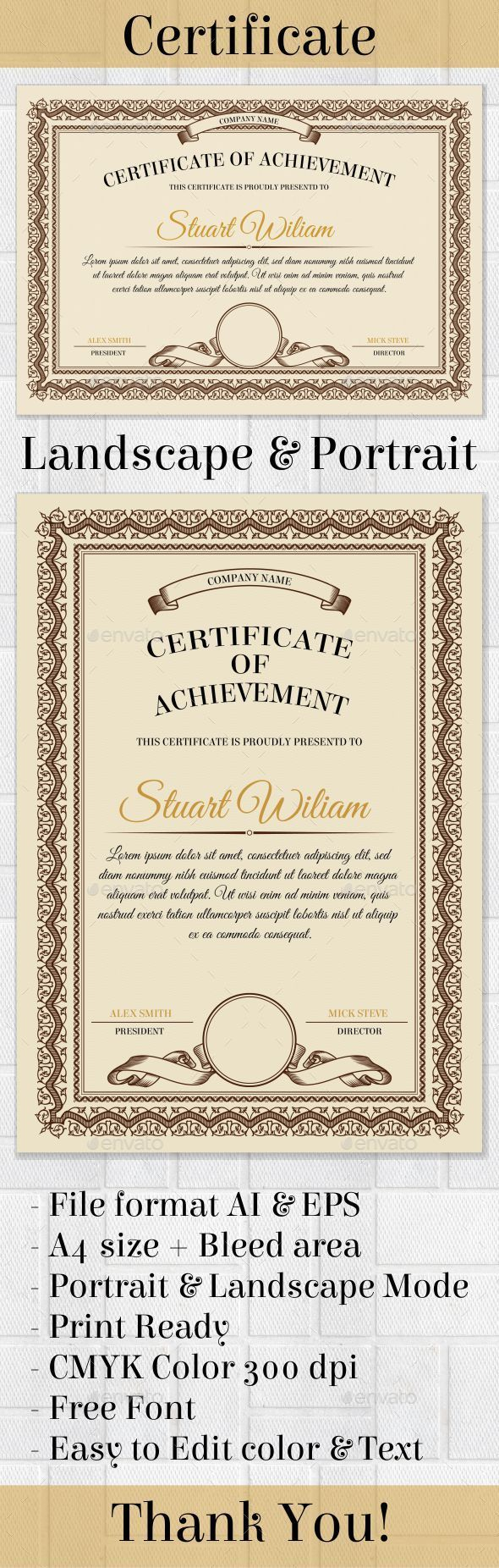Certificate template certificate template and certificate design certificate template file format ai eps size bleed area portrait landscape mode print ready cmyk color 300 dpi easy to edit color text yadclub Gallery