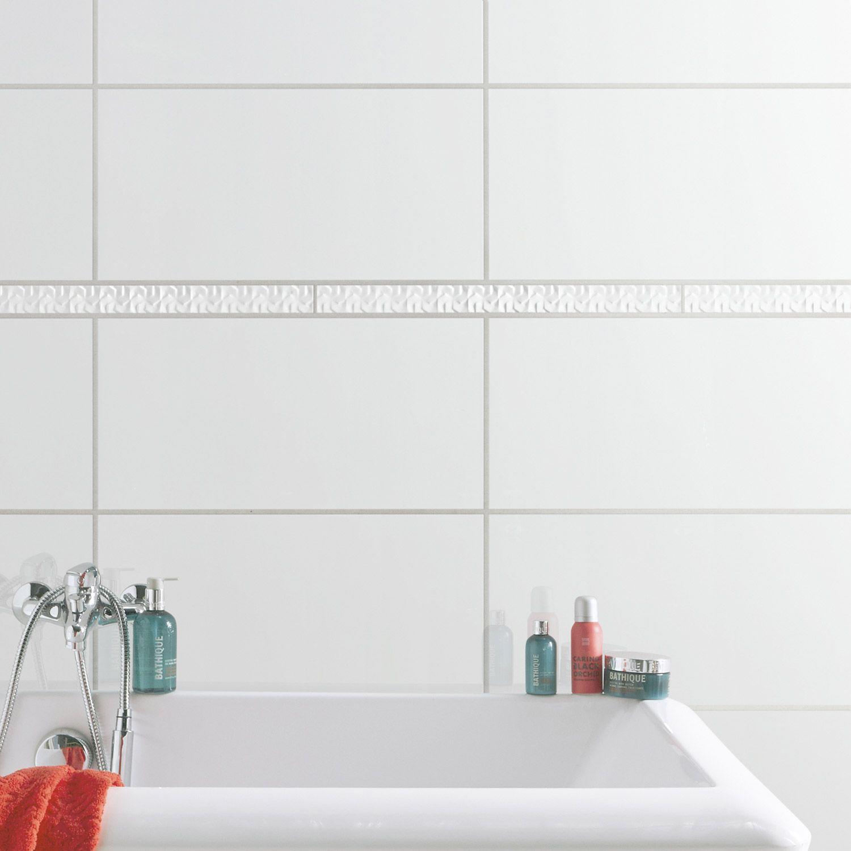 Carrelage Salledebains Blanc Frise Rectangle Mur Magasin - Carrelage frise