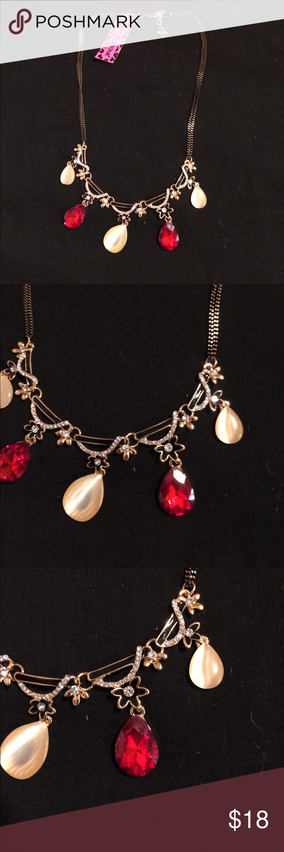 NWT Betsey Johnson necklace NWT Betsey Johnson Red and cream ...