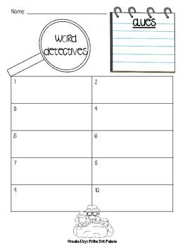 word detectives record sheet literacy stations and guided rdg word work centers words. Black Bedroom Furniture Sets. Home Design Ideas