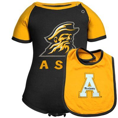 Appalachian State Mountaineers Infant First Down Creeper Bib Set